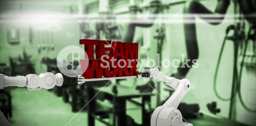 Composite image of white robotic hand holding team work text against white background