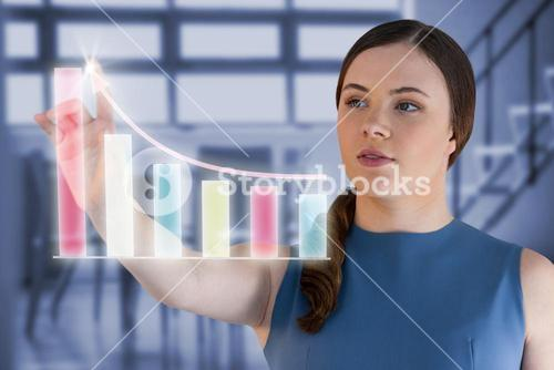 Composite image of woman touching virtual graph