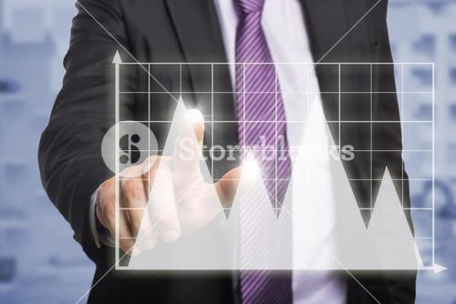 Composite image of businessman pointing against white background