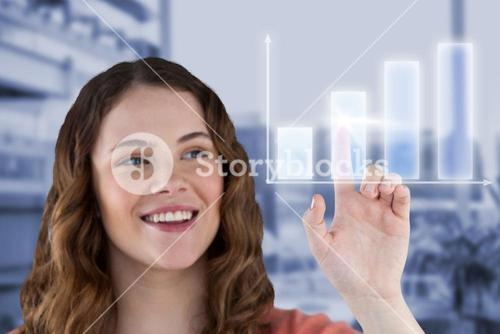 Composite image of happy young woman pointing virtual graph