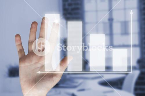 Composite image of hand of woman touching invisible screen