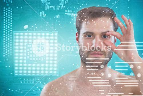 Composite image of shirtless man opening his eye with fingers