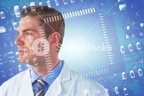 Composite image of thoughtful doctor in labcoat