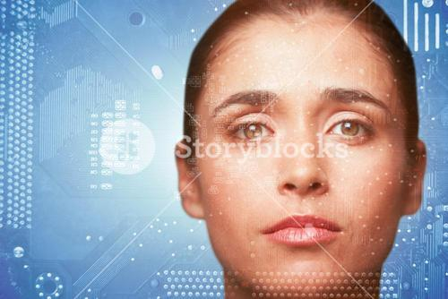 Composite image of portrait of woman with brown eyes
