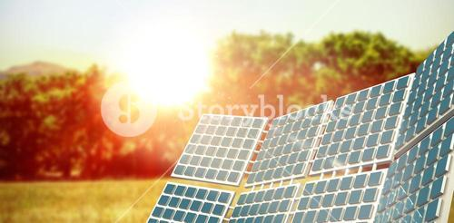 Composite image of three dimensional of solar power