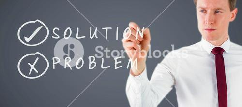 Composite image of businessman writing something with chalk