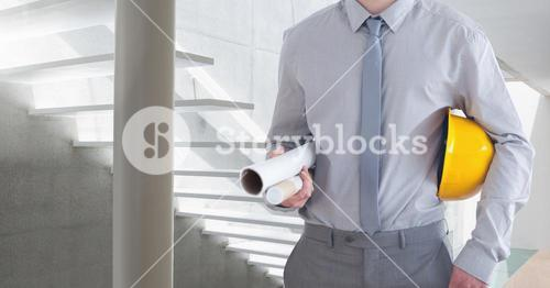 Architect Torso against a white stairs background