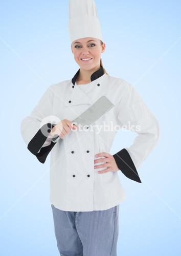 Composite image of chef with knife against blue background