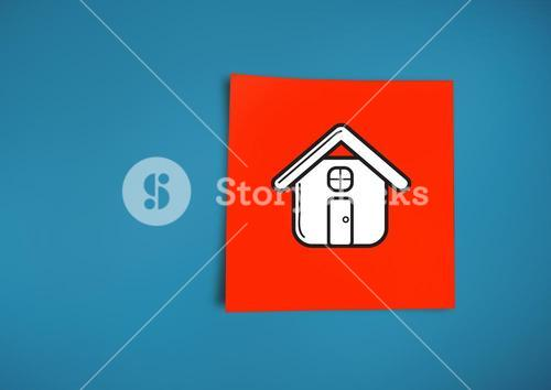 Composite image of Sticky Note Home Icon