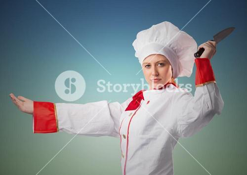 Composite image of Chef with knife against blue green background