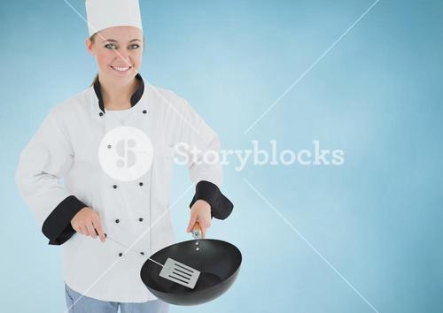 Composite image of Chef with pan against blue background