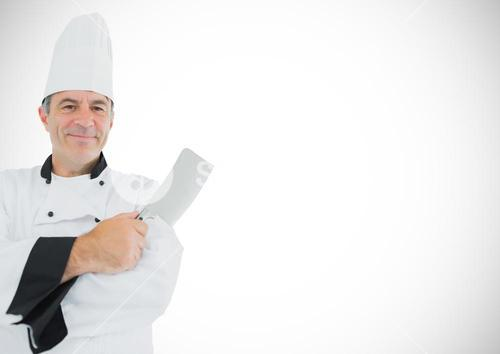 Composite image of Chef with knife against white background