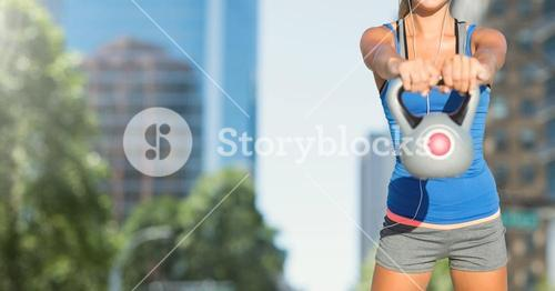 Woman torso in the street making fitness exercises
