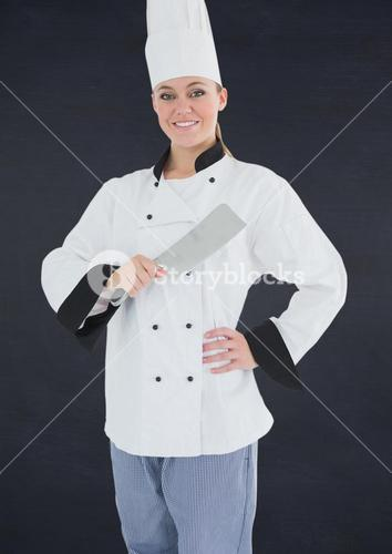 Chef with knife against navy background