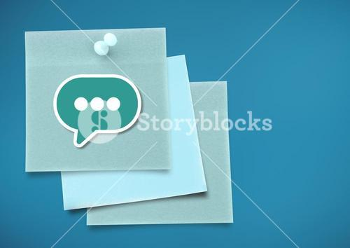 Sticky Note with message bulb icon against neutral blue background