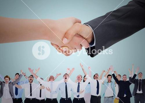 Handshake over business people with blue background