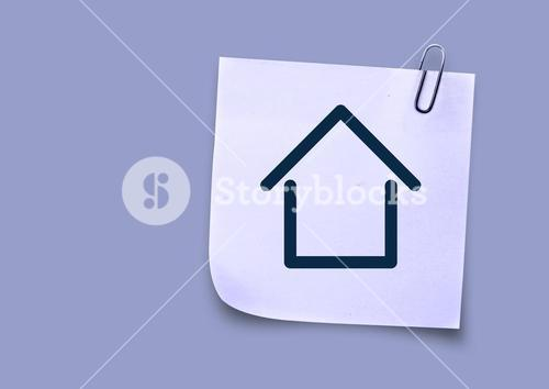 Sticky Note with Home Icon against neutral background