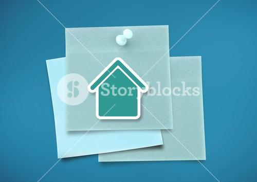 Sticky Note with home icon against neutral blue background