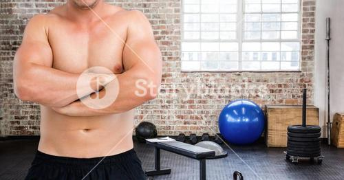 Fitness man Torso in a gym