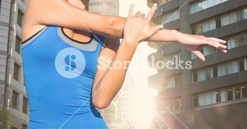 Fitness woman Torso making exercises in the street