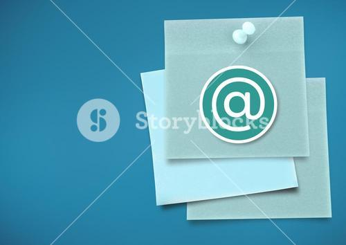 Sticky Note with At Icon against neutral blue background
