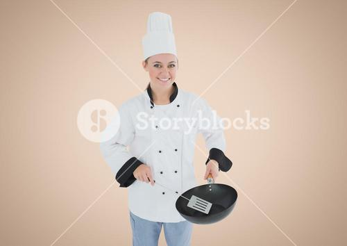 Chef with pan against cream background