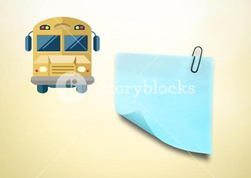 Sticky Note and School Bus icon against cream background