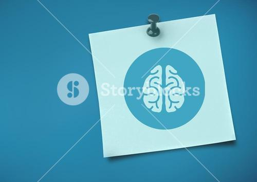 Sticky Note with brain Icon against neutral blue background