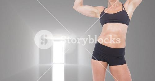 Composite image of woman Fitness Torso against empty room