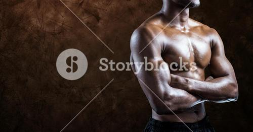 Composite image of black man Fitness Torso against brown background