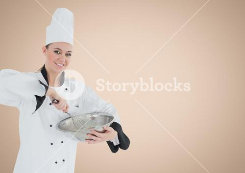 Composite image of Chef with bowl against cream background