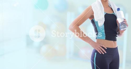 Composite image of Fitness Torso against blue background