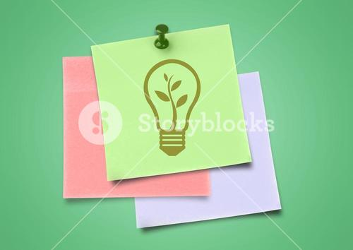 Composite image of colored Sticky Note Lightbulb Green Idea Icon