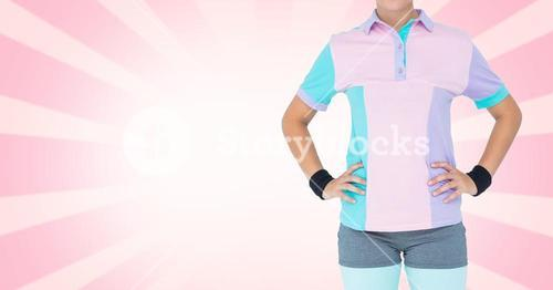 Composite image of Fitness Torso against pink background