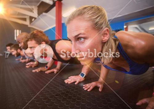 Composite image of Push ups with flare