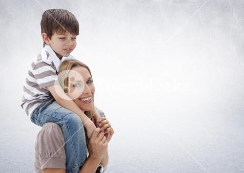 Composite image of parent and child against neutral grey background