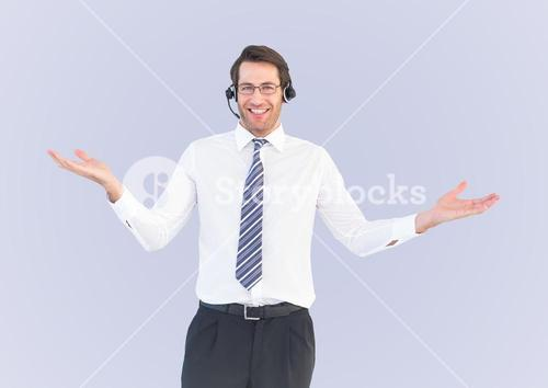 Composite image of Smiling service operator man against a neutral background