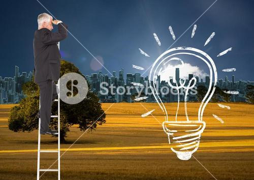 Composite image of Business man looking his future on a ladder with a light bulb drawn