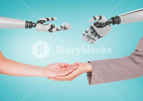 Composite image of Human hands and robotic hands against a neutral blue background