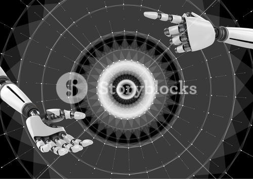 Composite image of Robotic Hands touching Wheel Circle against a black background