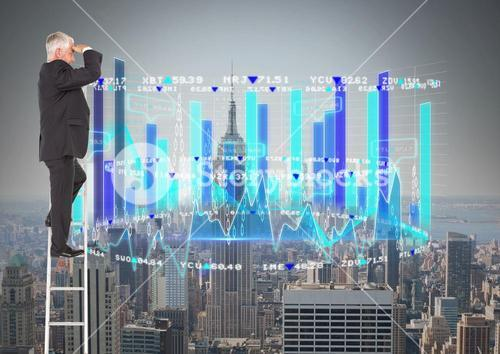 Composite image of Business man on a ladder looking his statistic graph against a city background