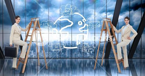 Composite image of Business women on a ladder against a digital interface and city background