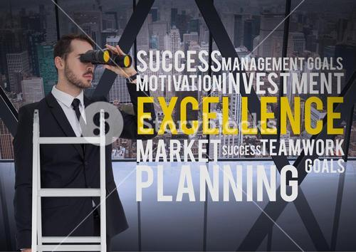 Composite image of Business man on a ladder looking his objectives against a city background and tex