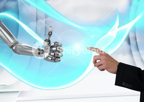 Composite image of Human hand showing a robotic hand against an interface with grey background