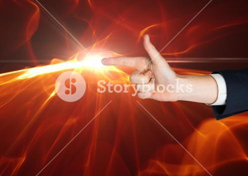 Composite image of Hand as a gun with a flame at the top of the finger against black background