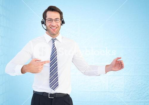 Composite image of Smiling business operator service man against a blue neutral background