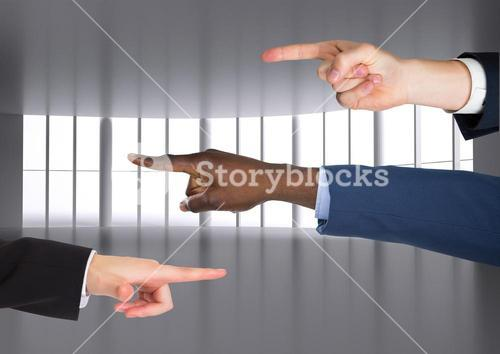 Composite image of Hands Pointing Blame accusation against windows as background