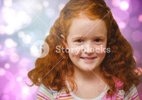 Composite image of happy red-headed girl against bright Colourful Background