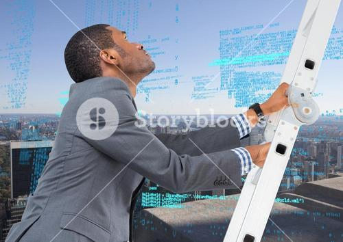 Composite image of Businessman on a Ladder looking at digital data against city view