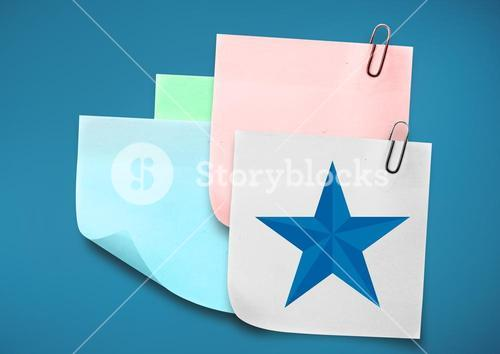 Composite image of colored Sticky Note with Star against blue background